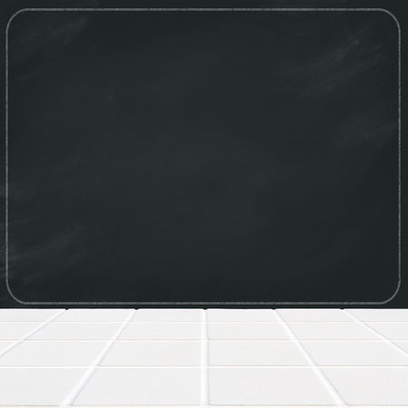 smudged: white ceramic mosaic floor and black chalk board blank, smudged with white curved frame