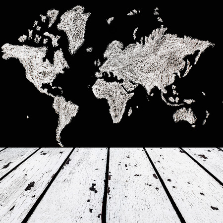 lath in modern: background made of white wooden floor and map of the world on black chalk board wall in square form