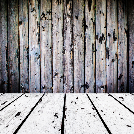 retro design: background made of old white wooden floor and dark wooden wall in square form, vignetting