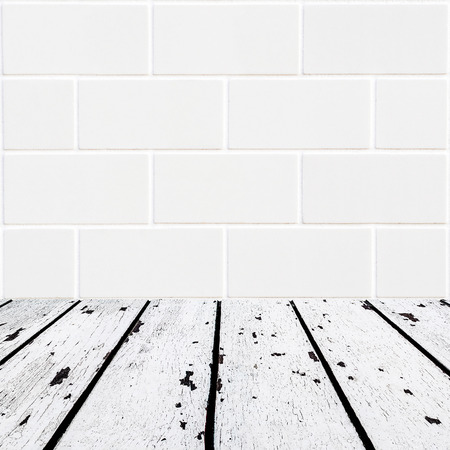 lath in modern: background made of white wooden floor and small white brick wall in square form