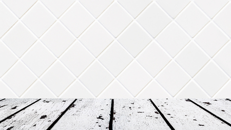 lath in modern: background made of white wooden floor and white rhomboid mosaic wall in rectangle form