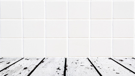 lath in modern: background made of white wooden floor and white mosaic wall in rectangle form Stock Photo