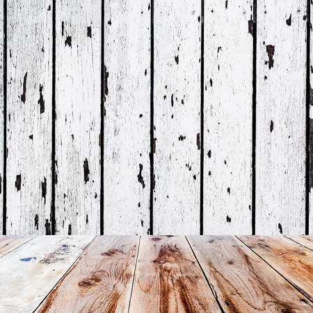retro design: wooden floor and old white wooden wall in square format