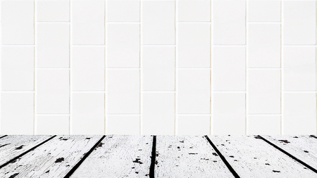 lath in modern: background made of white wooden floor and white bricks mosaic wall in rectangle form Stock Photo