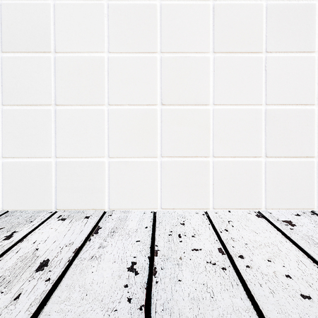 lath in modern: background made of white wooden floor and white mosaic wall in square form Stock Photo