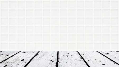 lath in modern: background made of white wooden floor and white glassy mosaic wall in rectangle form Stock Photo