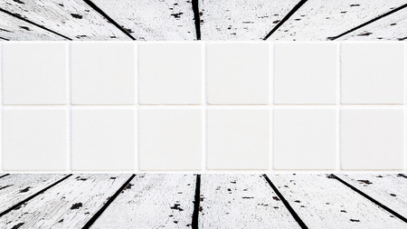 mosaic floor: old white wooden floor and ceiling with white ceramic square mosaic in the background