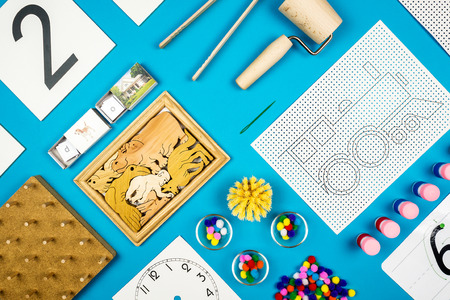 educational tools: educational tools very close to the montessori concept on turquoise background