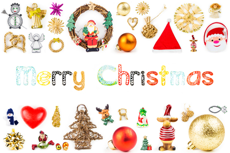 christmas decorations with white background: christmas decorations with funny Merry Christmas text on white background