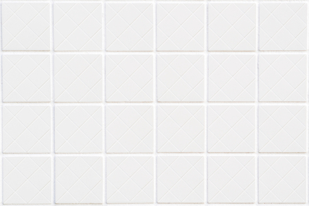 rhomb: background closeup of white big ceramic squares in rectangle format with rhomb structure inside of each square