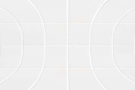 format: background closeup of white big curved ceramic squares in rectangle format Stock Photo