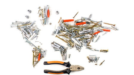 map of the world made of screws, fasteners and other mechanical tools with pliers on white background, worldwide construction industry concept
