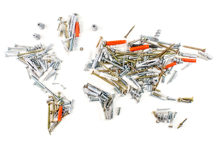 map of the world made of screws and fasteners on white background, worldwide construction industry concept