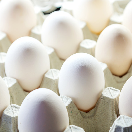 closeup of many white raw and fresh eggs packed in carton box Stock Photo