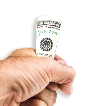 white hairy man is holding one hundred dollar banknote in his left hand isolated on white background