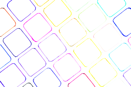 closeup of many little hand drawn multicolored squares illustration with stains and blots on white background, usage in graphic design and other creative decorations