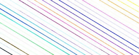 closeup of many little hand drawn multicolored diagonal lines illustration with stains and blots on white background, usage in graphic design and other creative decorations Stock Photo