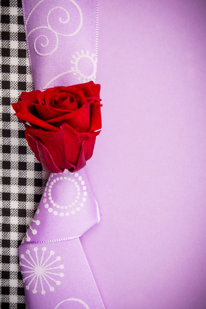 congratulation or valentine gift card with violet background with one red red rose and violet knot and band and plenty copy space for the text