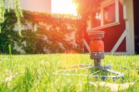 closeup of garden hose with sprinkler on green grass during hot summer day