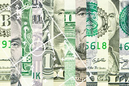 american dollar as the world reserve currency in strips with the picture of soccer footbal filed with play tactics and strategy drawn on it Фото со стока - 131325124