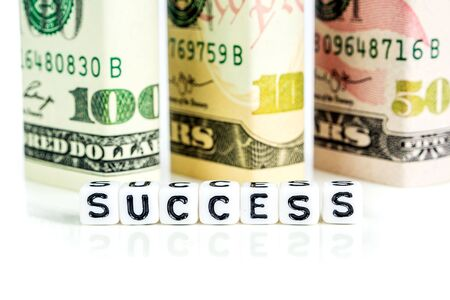 success concept, american dollar banknote blocks in all denominations in one row on white background with the word success made of little white cubes