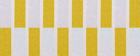 golden and silver vertically  striped textured background with white lines, plastic 3d effect and plenty copy space