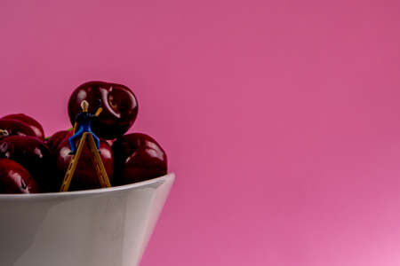 collection of many cherries in white ceramic bowls on pink background isolated with a lot of copy space