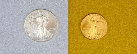 silver eagle and golden american eagle one ounce coins laying on silver and golden background, image split in two halves