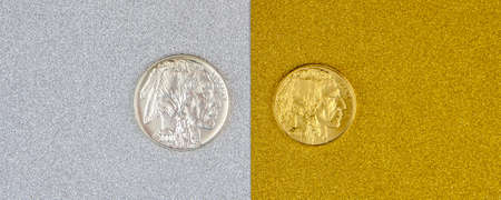 silver and golden american buffalo one ounce coins laying on silver and golden background, image split in two halves