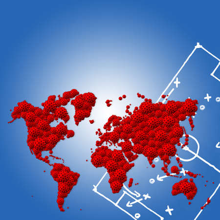 A pandemic of covid corona virus plague that crosses international boundaries, affecting people on a worldwide scale, map of the world made of virus model on blue background with copy space Stock Photo
