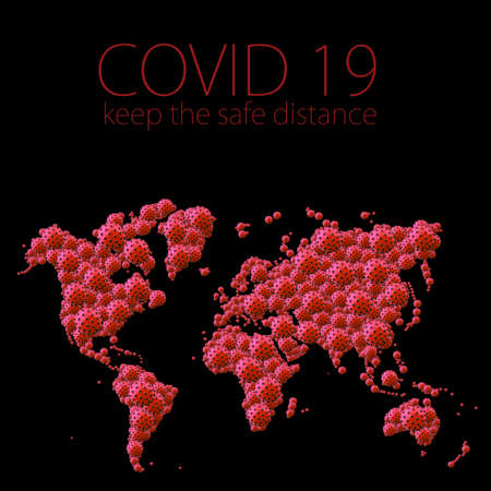A pandemic of covid corona virus plague that crosses international boundaries, affecting people on a worldwide scale, map of the world made of virus model on black background