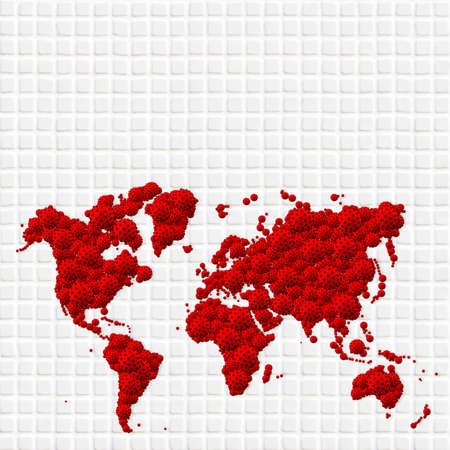 A pandemic of covid corona virus plague that crosses international boundaries, affecting people on a worldwide scale, map of the world made of virus model on white mosaic tile background