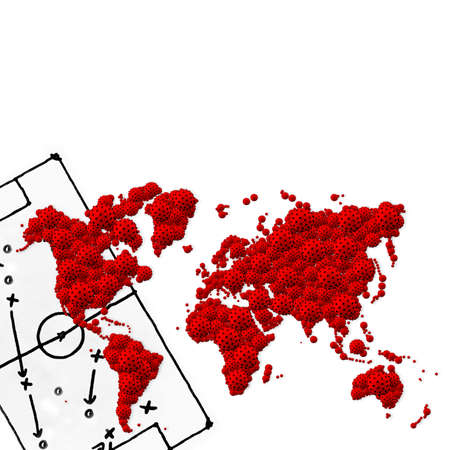 A pandemic of covid corona virus plague that crosses international boundaries, affecting people on a worldwide scale, map of the world made of virus model on white background with copy space
