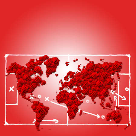 A pandemic of covid corona virus plague that crosses international boundaries, affecting people on a worldwide scale, map of the world made of virus model on red background with copy space Stock Photo