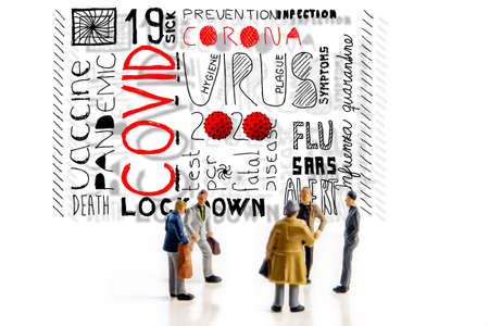team of people making a decision about corona covid virus plandemic, finding best possible solution, five miniature figurines standing on hand drawn covid keywords and thinking about the success strategy