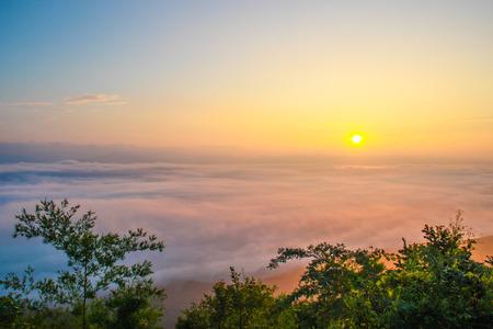 airiness: sea fog covers the mountain range - nan provinces - nan thailand - national parks nanthaburi Stock Photo