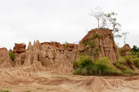 corrosion: Soil cliff and corrosion at Kork Suo,Nan,Thailand