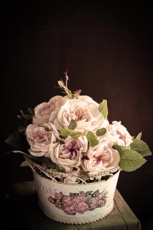 artificial flower: Colorful decoration artificial flower vintage Stock Photo