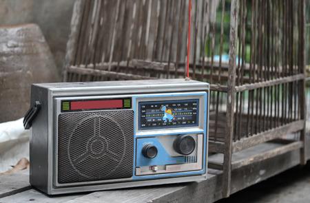 transistor: Transistor radio located on wooden