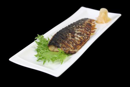 Grill fish with sauce , Saba fish teriyaki sauce japanese food