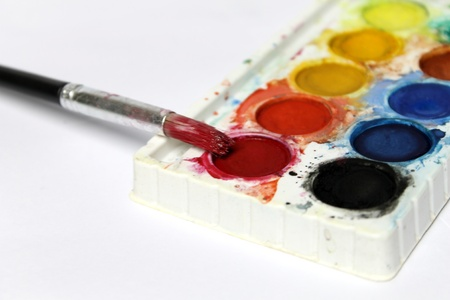 paintbox: Water-color paint-box and paint brush