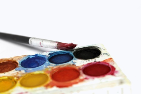 Water-color paint-box and paint brush