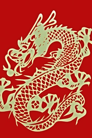 Golden Dragon on red background Stock Photo