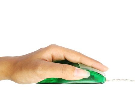 Hand mouse clicks Stock Photo