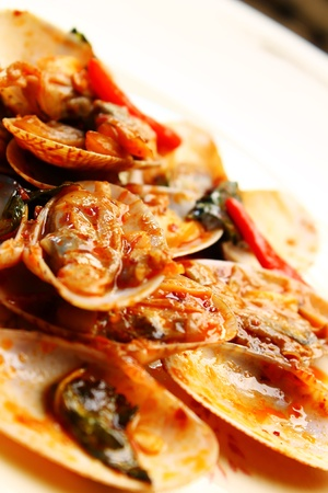 Clams with chili paste photo