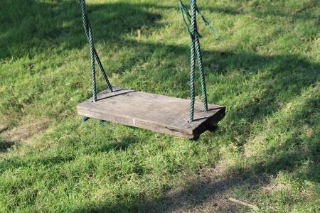 Swing hanging in garden Stock Photo