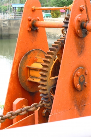 Gear switcher floodgate near river Stock Photo