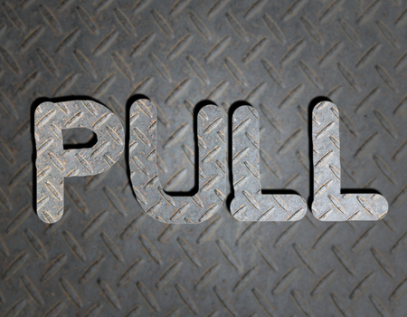 pulling money: Metal text on background