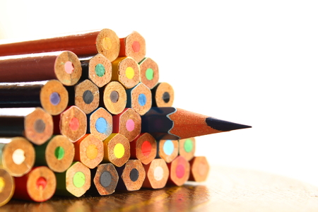 colored pencils on table Stock Photo