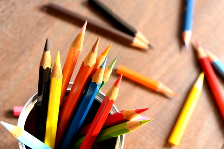 color Pencils in the box Stock Photo